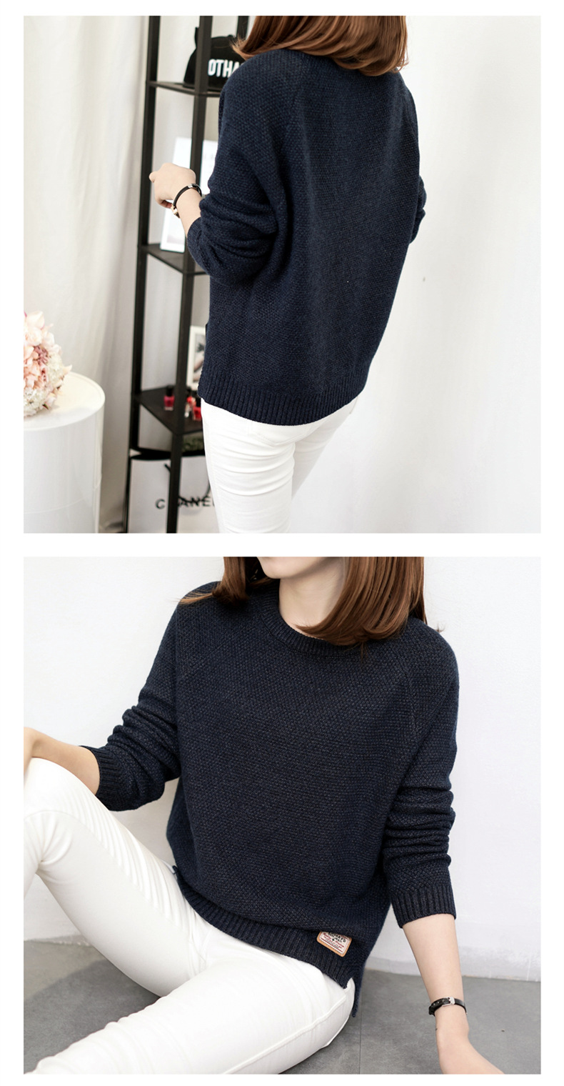 Autumn sweater 19 Winter women fashion sexy o-neck Casual women sweaters and pullover warm Long sleeve Knitted Sweater 14