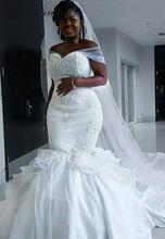 Платье Русалочка в африканском стиле белое сатиновое кружевное