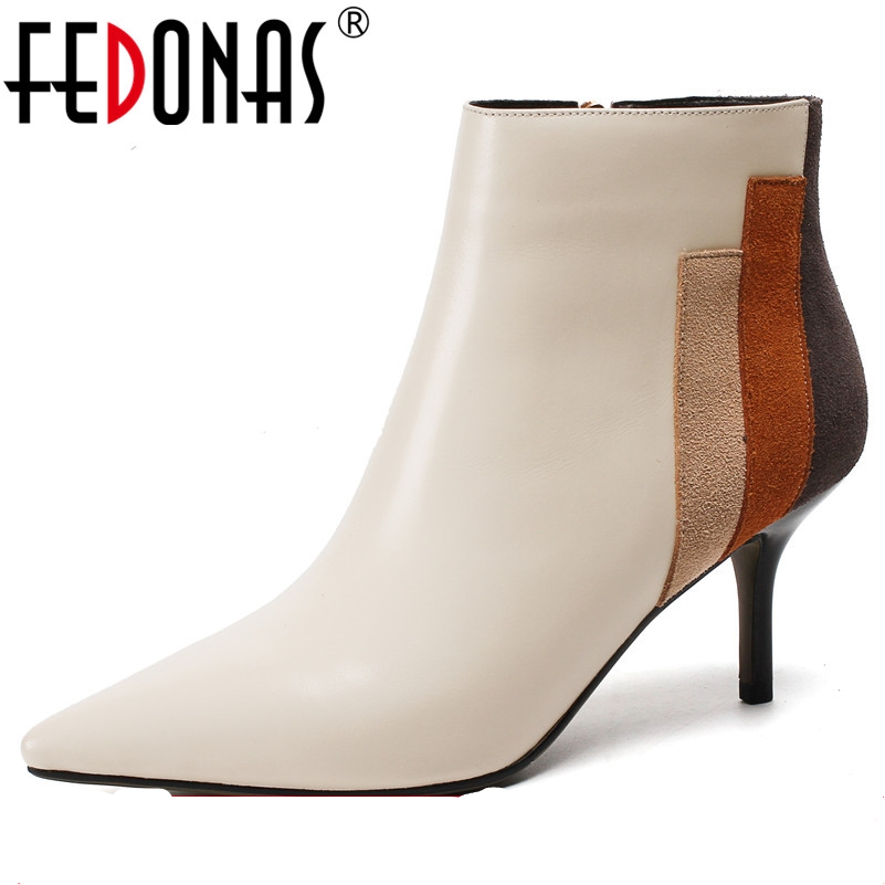 FEDONAS Sexy Women Genuine Leather Ankle Boots Patchwork Sexy Pointed Toe Party Wedding Shoes Woman Ladies