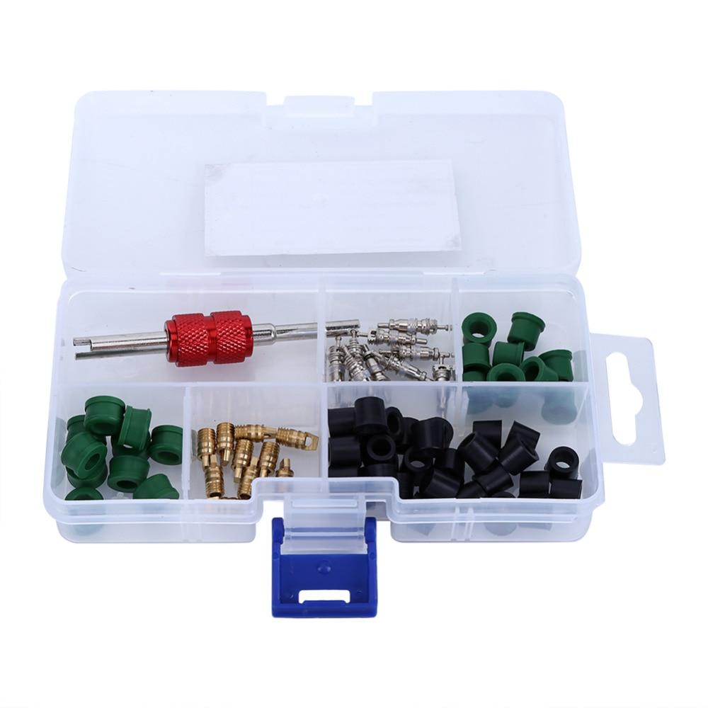 71pcs(1 Box) Including Air Condition Repair Kit Repair Tool+Valve Cores+ Hose Gaskets+Valves