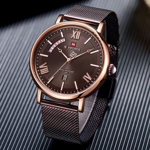 Image 3 - NAVIFORCE Uhr Männer Fashion Business Uhren männer Casual Wasserdicht Quarz Armbanduhr Edelstahl Mesh Relogio Masculino