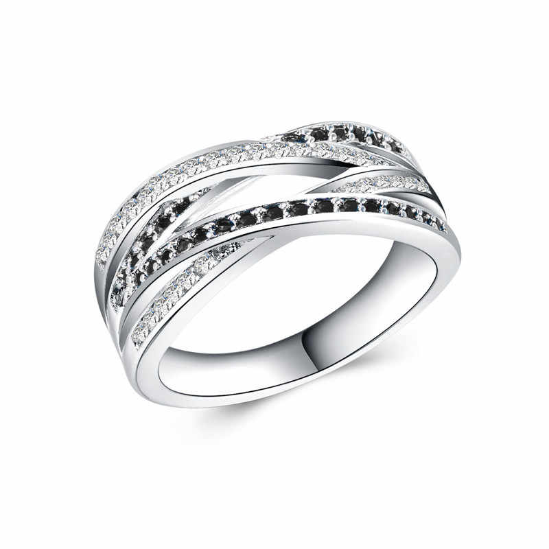 75f71a295 New Classic Silver Endless Beauty Twisting Wave Cubic Zircon Finger Pandora  Ring For Women Wedding Jewelry