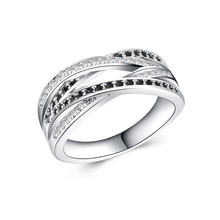 CUTEECO New Classic Silver Endless Beauty Twisting Wave Cubic Zircon Finger Brand Ring For Women Wedding Jewelry
