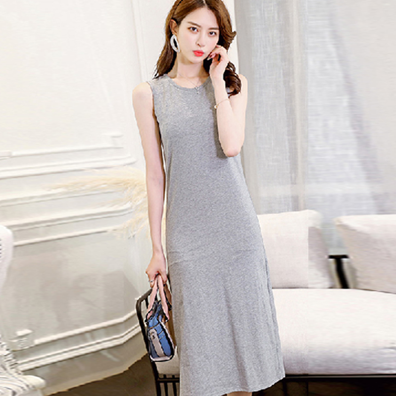 2018 Summer Sleeveless Women Dress Solid O Neck Swish Maxi