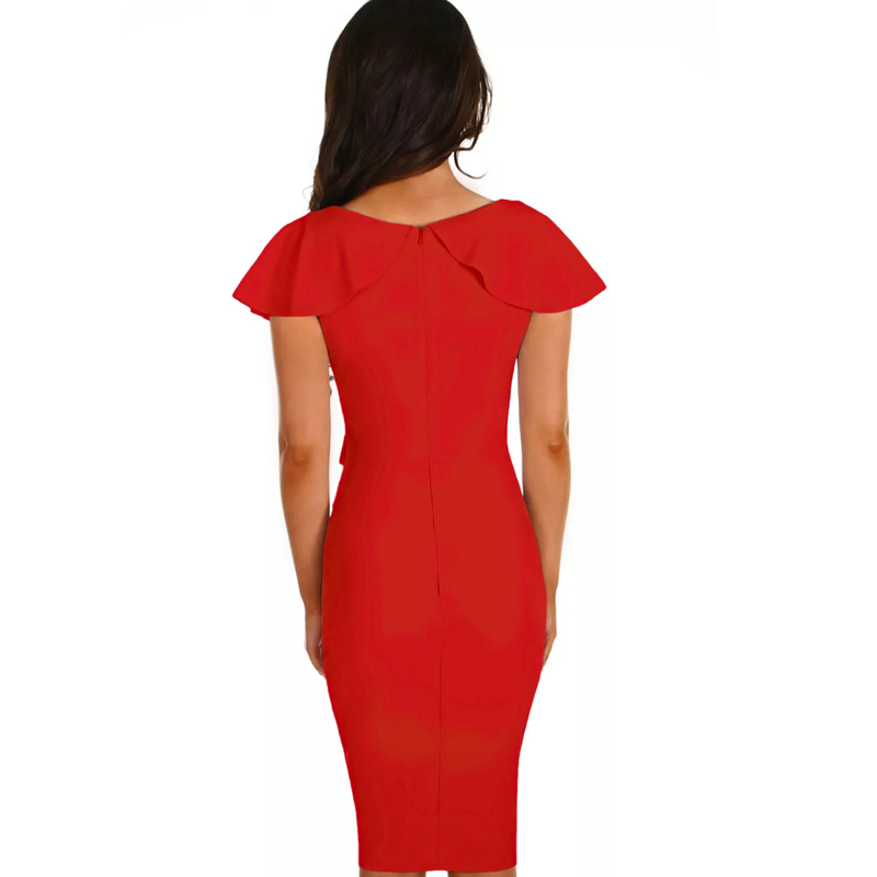 2018 Summer New Fashion Knee-Length Dresses For Women Party Ruffles Sleeve Gossip Frill Bodycon Sheath Warp Midi Dress LC610010