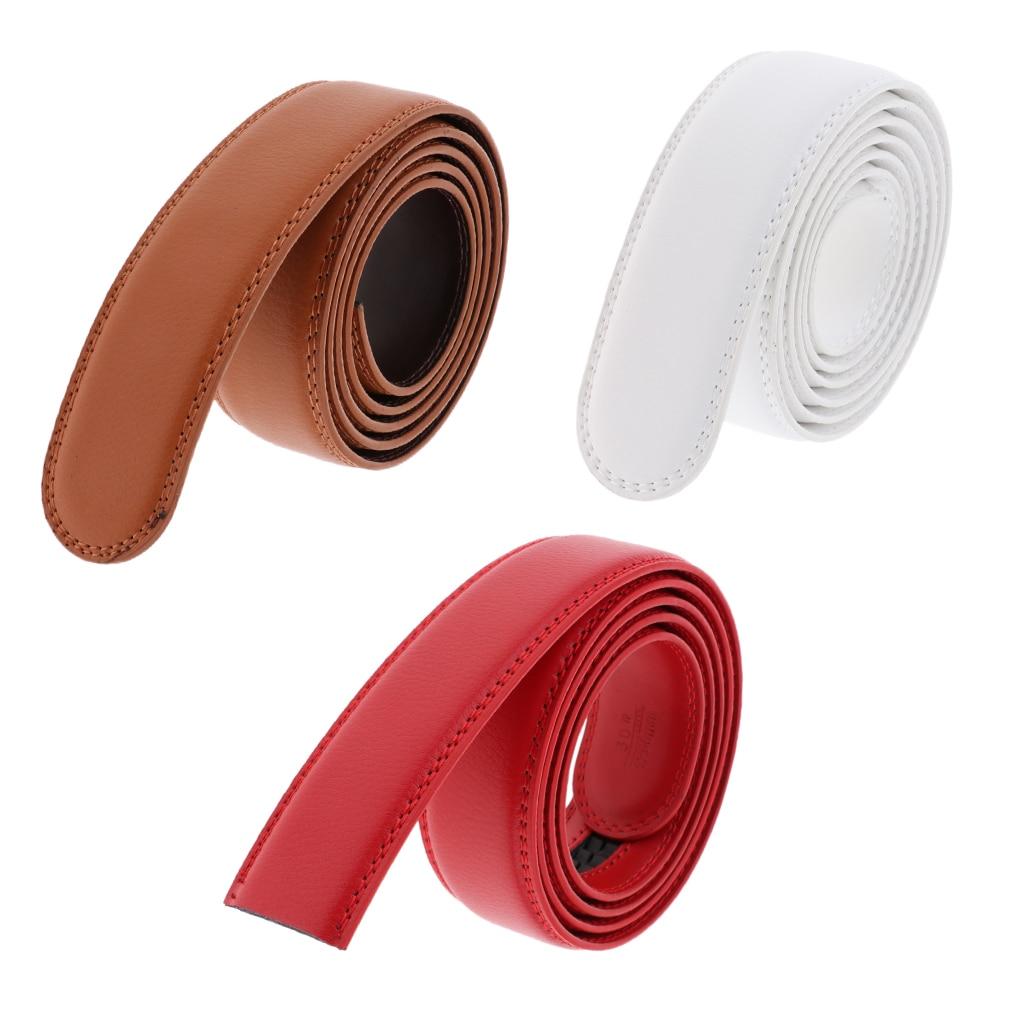 Men Women Leather Ratchet Belt Strap Without Buckle Double Stitched Edge Design