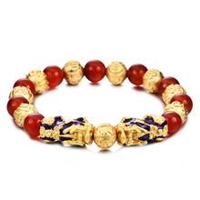 Фэн-шуй, настоящий двойной браслет из Красного Оникса, Женский Национальный браслет, модный, температурный, цветной, pixiu браслет