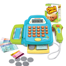 Toy Cashier Cash Register with Real Calculator Vegetable Coins Pretend Play Toys, Gift Box cash register with scanner weighing scale electronic educational toy multi functional play toy for kid real calculator toys p15