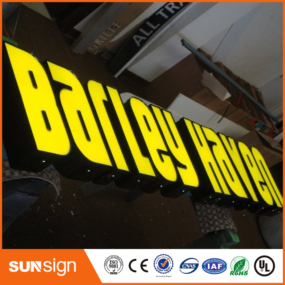 Acrylic Led Light Channel Letters Stainless Steel Letter Shop Sign