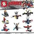 Marvel super heroes Капитан Америка гражданской войны aerocraft строительный блок Сокол Ironman Паук человек-Муравей legoe игрушки