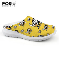FORUDESIGNS Cow Dog Pattern Women Slippers Summer Female Casual Home Sandals Breathable Mesh Sandals for Women Ladies Flats