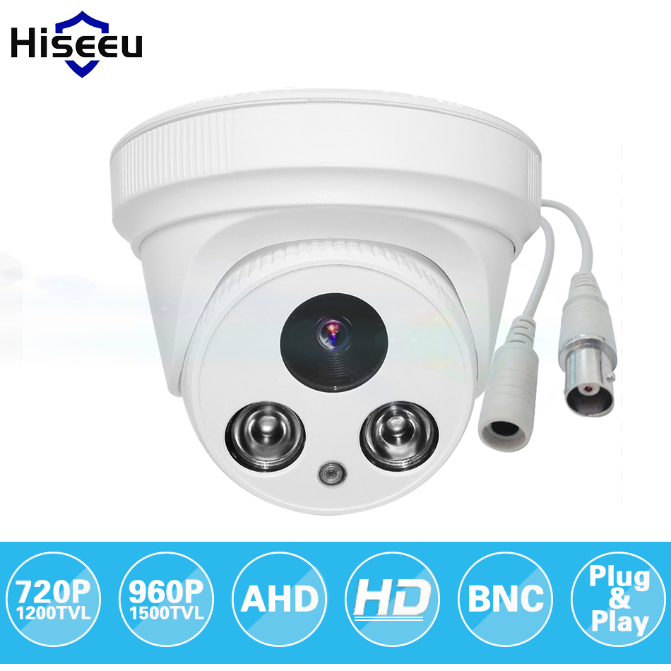 Hiseeu AHDM 720P 960P IR Mini Dome Analog AHD CCTV Camera indoor IR CUT Night Vision Plug and Play Free shipping AHCR6 free shipping hot selling 720p 20m ir range plastic ir dome hd ahd camera wholesale and retail