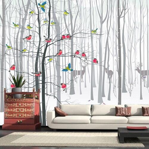 19e2cdf4cf408 3d صور ورق الحائط ل غرفة المعيشة الحديثة الطيور شجرة أسود أبيض غراندي  fresque murale paysage ورق الحائط ل نوم