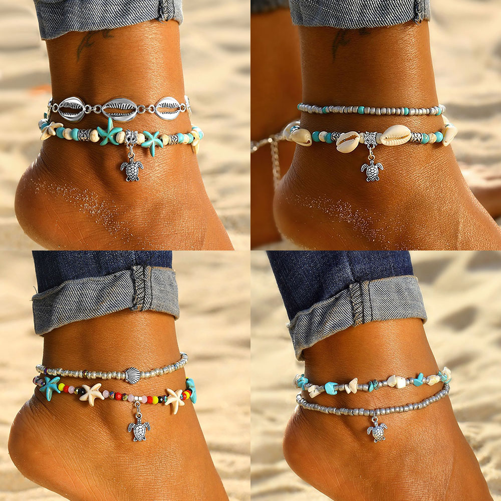 KISS WIFE New Fashion Bohemian Anklet Set For Women Vintage Multi Layer Turtle Shell Starfish Anklets 2019 Jewelry A Direct Sale