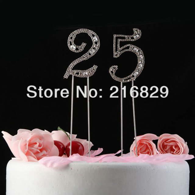 China post air mail free shipping Shining Rhinestones With Pattern Nunmer Cake Topper 0-9 Wedding anniversary  Birthday
