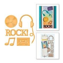Dies Ruck Letter Headset Headphones CD Magnetic Tape Music Metal Cutting Dies Scrapbooking Craft Cuts for Card Making Embossing