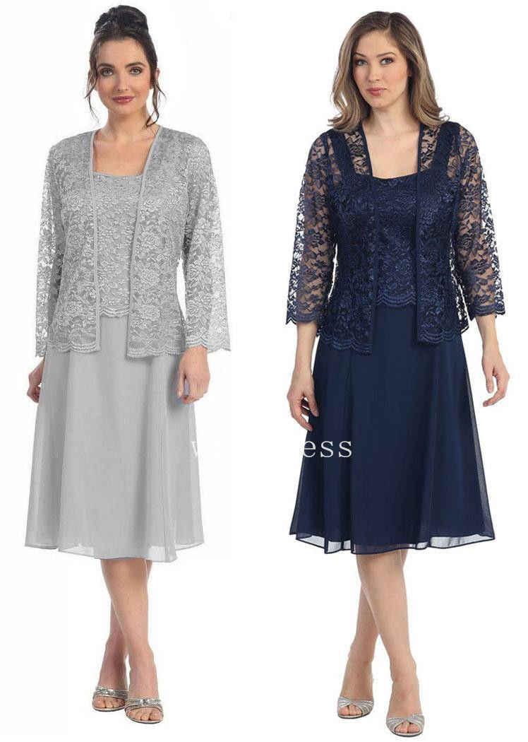 Vestidos de talla grande azul 2018 Madre de la novia vaina con chaqueta Aplique de encaje para boda vestido de fiesta vestidos de madre para boda
