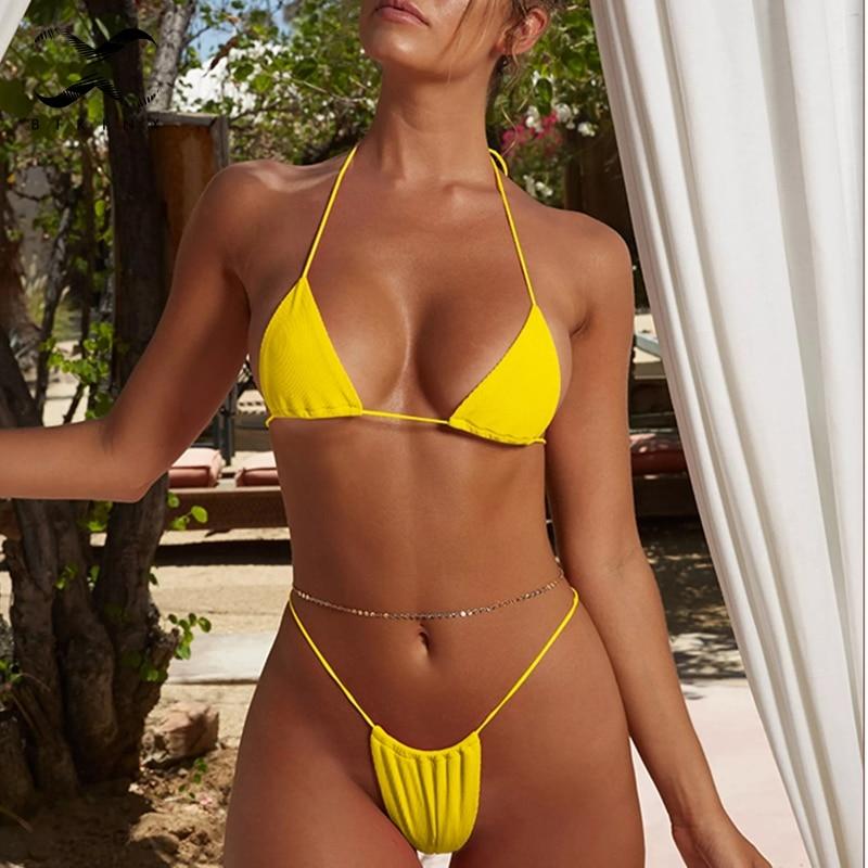 21a0a1596ff0c Bikinx Sexy micro bikini 2018 women Highcut swimsuit Padded bra thong  bottom Halter solid swimwear Brazilian biquini beachwear