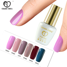 CHARM CHICA Colorful UV Nail Gel Polish Long Lasting Bling Lacquer Nude Pink Blue Green Colors Gel Nail Polish