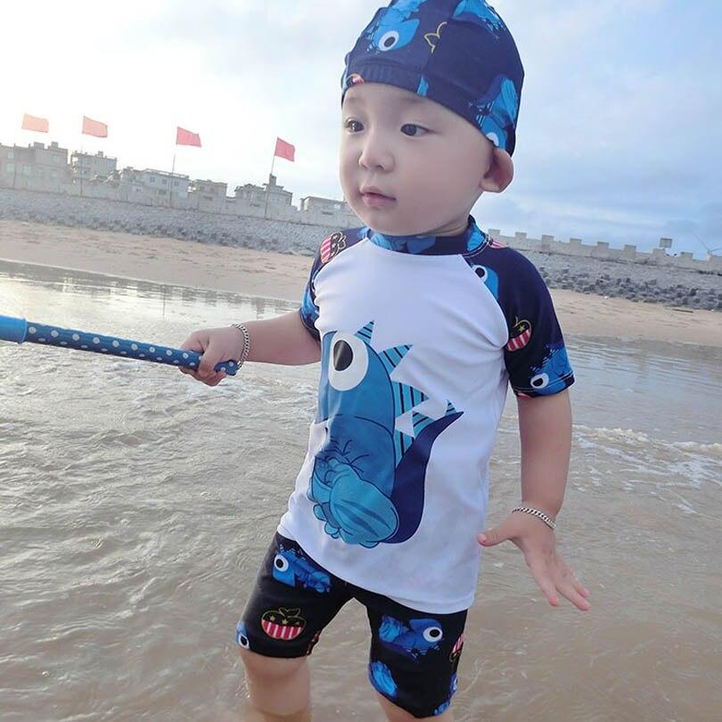 3Pcs Boys Summer Swimsuit Tops+Pants+Caps Set Cartoon Monster Printing Boys Swimwear Bathing Trunks Kids Swimming Clothes 2-9Y