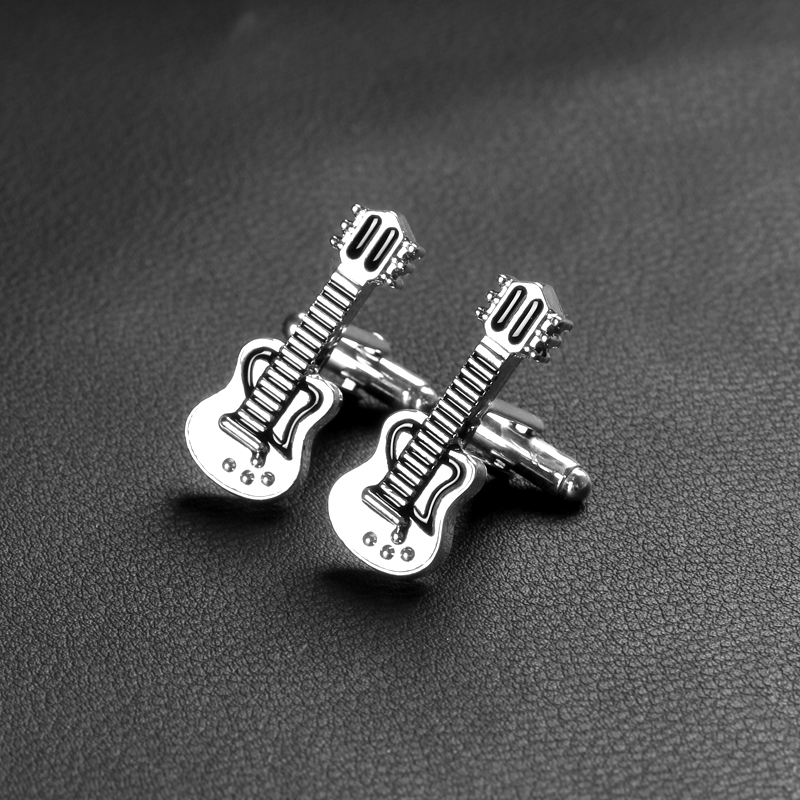 Creative Black White Guitar Cufflinks For Mens Trendy French Shirt Cuff Links Party Club Cufflink Buttons Valentine's Day Gift