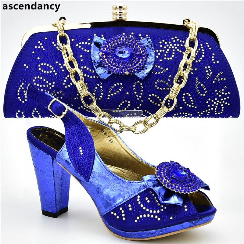 pourpre Chaussures Sac Purple Avec Pompes Femmes Bleu Conception Nigérian Ensemble Strass Mariage Décoré Dernières Parti Et De light Africaines or qXHwvU0