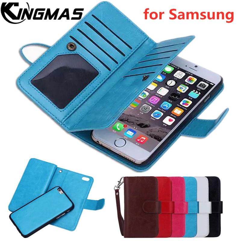Caso carteira de Couro para Samsung S9 2 em 1 S8 S7 S6 Borda MAIS Nota 8 9 4 5 telefone painel de suporte de adsorção photo frame slot virar