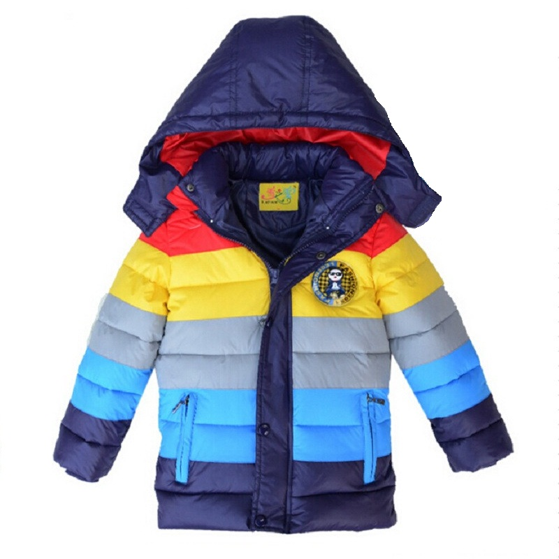 Retail 2015 Children Winter Thick Outerwear Coats striped color boys cotton-padded jacket,Kids duck down cotton coat 3-8yrs children winter coats jacket baby boys warm outerwear thickening outdoors kids snow proof coat parkas cotton padded clothes
