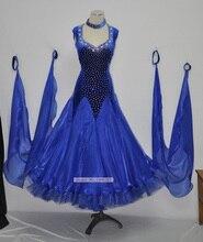 Competition Dance Dresses Royal Blue Flamenco Dress Glass Stone Modren Tango Waltz Ballroom Dancing Costume Woman