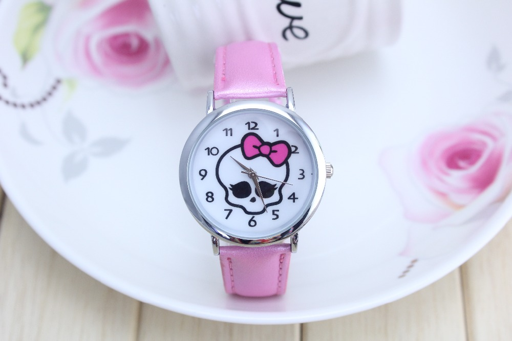 New Cartoon Children Watch Princess Monster high barbie Watches Fashion  Student  Leather Sports Analog Wrist Watches new cartoon children watch princess elsa anna watches fashion girl kids student cute leather sports analog wrist watches k 1128