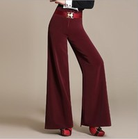 2018 High Waist Belt Zipper Palazzo Pants Plus Size 6XL Wide Leg Pants Women Elegant OL Style Trousers Black Green Red Green