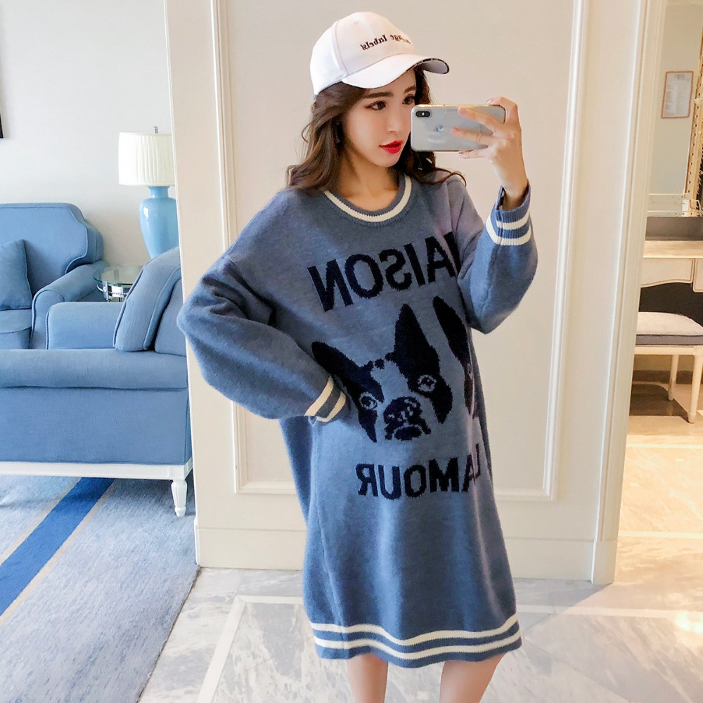 Pregnant women sweater autumn and winter fashion long-sleeved maternity dress Korean version 2018 new loose long coat pregnant women sweater autumn 2018 new fashion long sweater dress korean v neck loose maternity dress