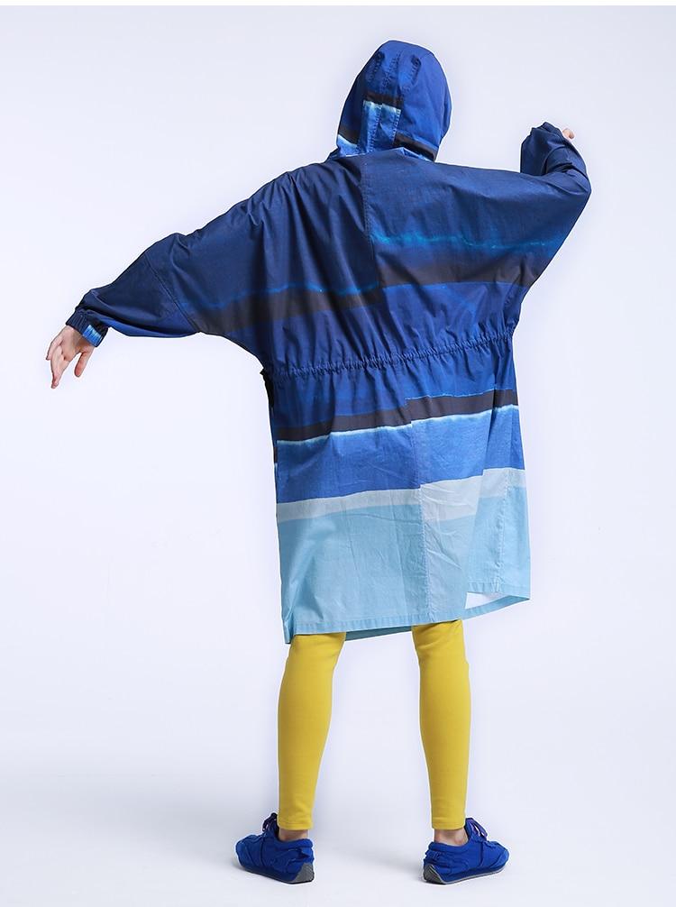 Arrivée Bleu À Lâche Robe Longue Automne Ch208 Occasionnel Nouvelle Pulls Tranchée Femmes D'origine Imprimé Manteau 2016 Coton Capuche RqTPq5w