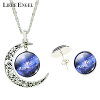LIEBE ENGEL Vintage Silver Color Jewelry Sets Galaxy Glass Cabochon Statement Necklace Stud Earrings Jewelry Sets for Women Gift