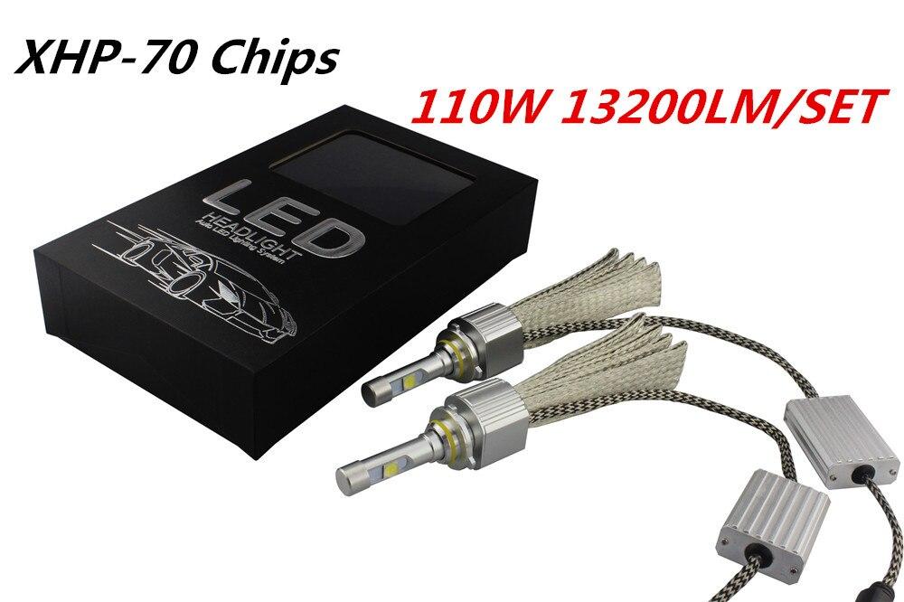 1 компл. 110 Вт 13200LM H4 Hi/Lo ксеноновые Белый 6000 К H7 H11 9005 9006 H13 автомобиля светодиодный фары преобразования лампы Комплект для XHP-70 6600lm лампы