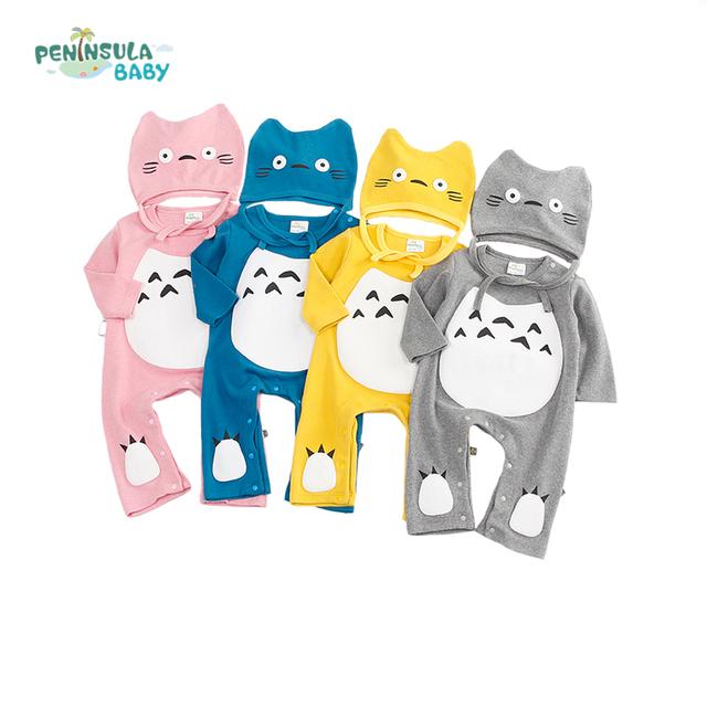 Nova Primavera Roupas de Bebê Infantil Dos Desenhos Animados Totoro Macacão Para Recém-nascidos corpo Terno Roupa dos miúdos Das Meninas Dos Meninos Macacão Com Chapéu 4 cores