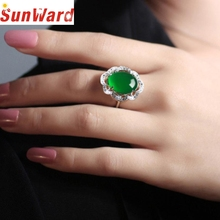 Ring jewelery Zircon Green Ring Women Fashion Adjustable Jewelry Silver Green Zircon Wedding Rings Dropshipping