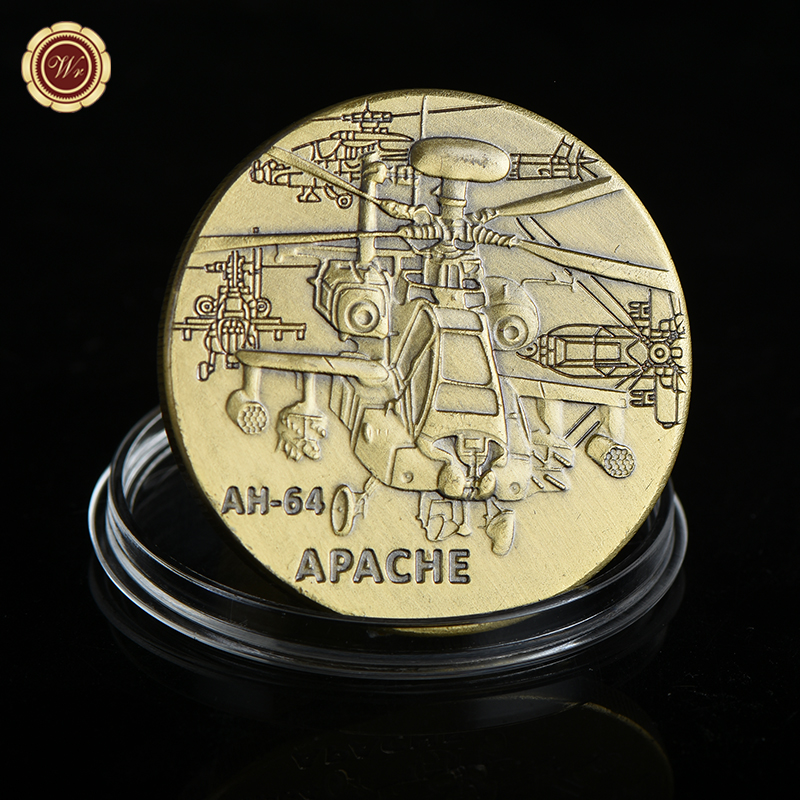 WR Home Decoration Accessories Metal Coin AH-64 APACHE Commemorative American Bronze Coin Model Home Decorative Crafts 40mm