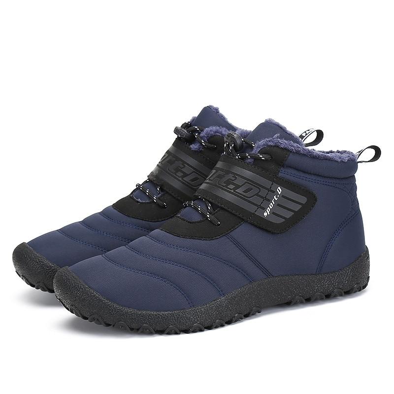 Navidad invierno zapatos de los hombres botas de nieve antideslizante caliente de la felpa de piel tobillo botas de invierno Zapatos de trabajo zapatos de plataforma plana botte Homme