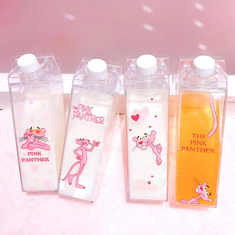 Portable Milk Box Shape Water bottles Unique Mini Cartoon Leopard Outdoor Travel Water Bottles BPA Free Coffee Beer Drinkware