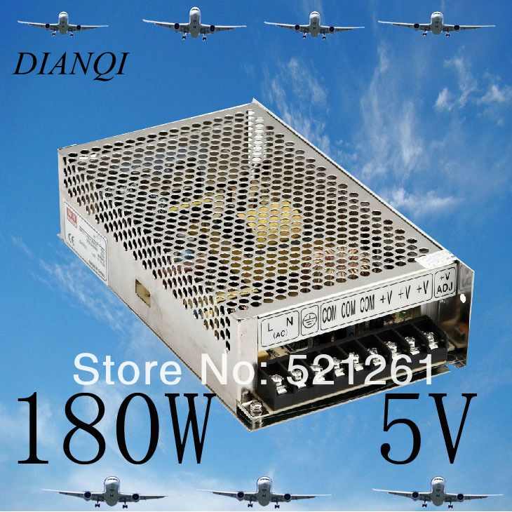 180W 36A  Switching Power Supply 36A 5v 180w ac to dc S-180-5 for LED Strip light  5V output  power suply  Input 220v or 110V best quality 12v 15a 180w switching power supply driver for led strip ac 100 240v input to dc 12v