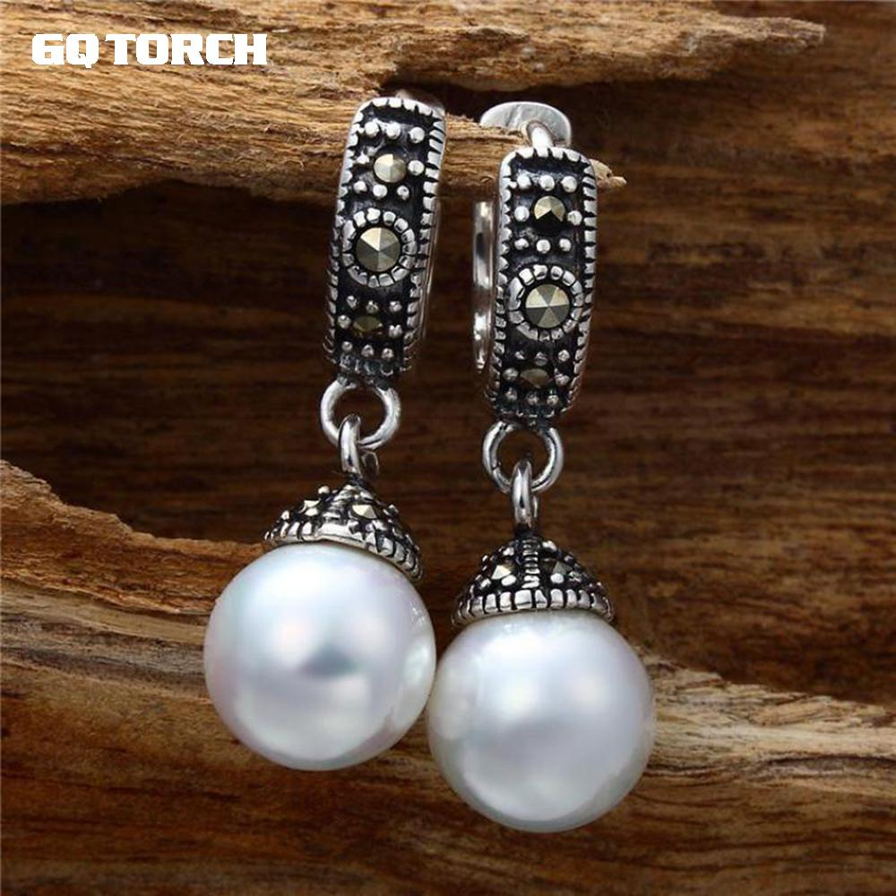 GQTORCH 925 Sterling Silver Drop Earrings Genuine Pearl Earrings Vintage Mosaic Fashion Ear Clip For Women pair of vintage rhinestone faux pearl cross floral earrings for women