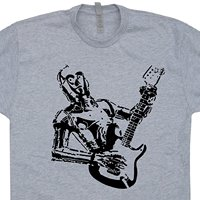 LEQEMAO C3PO Guitar T Shirts Bass Amp Electric Yoda Playing Rock Band Acoustic Vintage Mens T