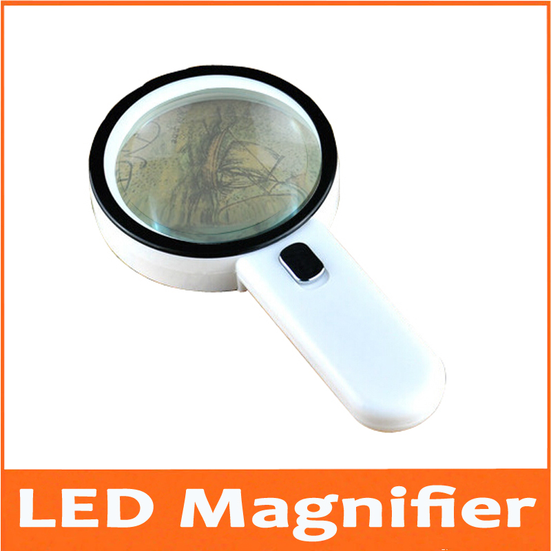 10X LED Illuminated Household Office Reading Magnifier Dedicated Handheld Magnifying Glass Loupe with 12pcs Lights Field Test