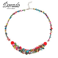High Quality Bohemian Style Beautiful Natural Small Stone Choker Statement Necklace Multi Color Beach Jewelry Bijoux