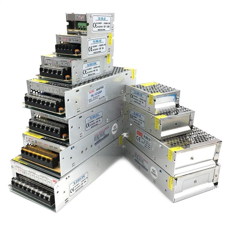 Трансформаторы 220 В до 12 В для светодиодной ленты, 5 В, 12 В, 24 В постоянного тока, 3 А, 5 А, 10 А, 15 А, 20 А, 5 12 24 В, адаптер питания для светодиодной лен...