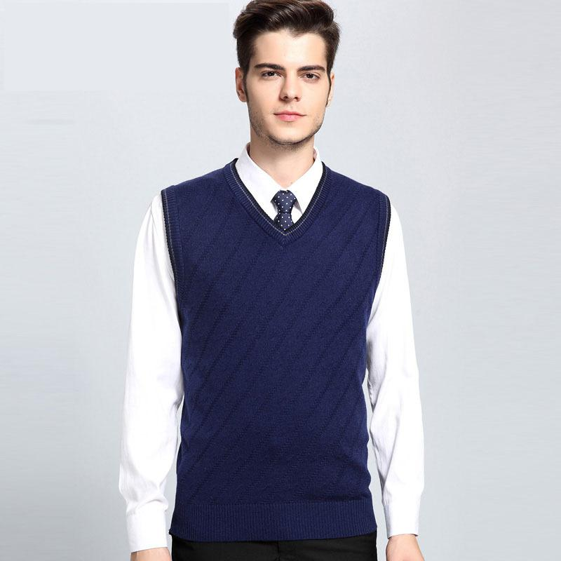 New Arrival Men's Autumn Winter Loose Casual Knitted Pure Color V-neck Vest Brand Warm Elastic Male Fashion Sweater Size S-3XL