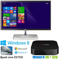 Cx-w8 Win8 mini PC Intel Atom CPU Z3735F windows 8 2 GB 32 GB Intel inteligente caixa de TV WIFI BT4.0 melhor caixa de TV inteligente Android 4.4