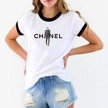 62a3af9e0d Koreański styl Karl T koszula kobiety mężczyźni Lagerfeld kot zwierząt  drukuj biały bawełna Vogue tshirt Top femme bts odzież dl.