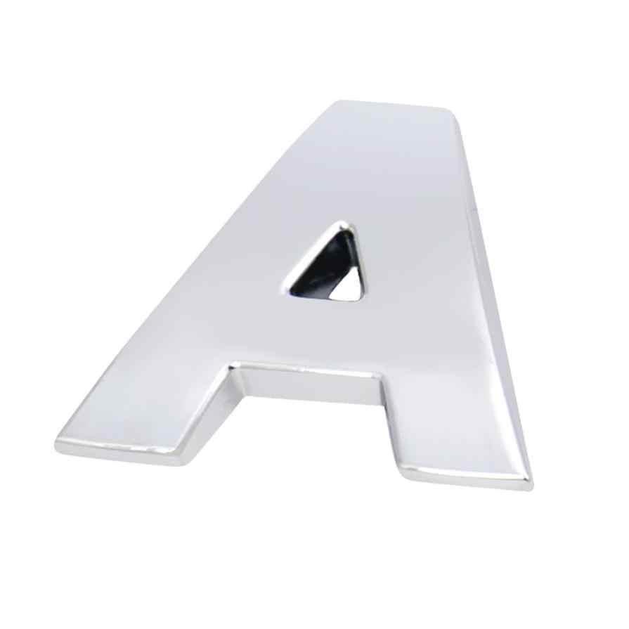 Gümüş araba Styling (A-Z) 3D DIY metalik alfabe Sticker araç amblemi mektubu gümüş rozet çıkartması kapakları araba-styling H0207